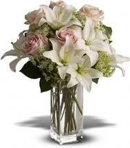 Heavenly and Harmony with white lilies and pink roses in a clear glass vase in Washington DC and Rockville MD, Palace Florists