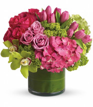 New Sensations with green hydrangea, pink hydrangea, green cymbidium orchids, hot pink roses, lavender roses, pink tulips and green viburnum in a clear cylinder vase lined with a leaf wrap in Rockville MD, Palace Florists.