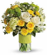 Your sweet smile showcases white roses, yellow spray roses, green carnations, green button spray chrysanthemums and white waxflower accented with assorted greenery in Washington DC and Rockville MD, Palace Florists