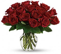 Washington DC and Rockville MD Rose Special with 25 short stemmed gorgeous red roses in a vase with foliage in Washington DC and Rockville MD, Palace Florists