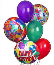 Birthday Balloon Bouquet showcasing three happy birthday balloons and three latex balloons gathered together with a festive balloon weight in Washington DC and Rockville MD, Palace Florists