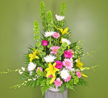 Cherished Memories Basket showcases bells of irelend, gerberas, carnations, roses, fugi mums, white dendrobium orchids and yellow lilies in Washington DC and Rockville MD, Palace Florists