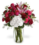 Burgundy Blush features roses, lilies, hydrangea, carnations and other foliage in glass vase in Rockville MD, Palace Florists