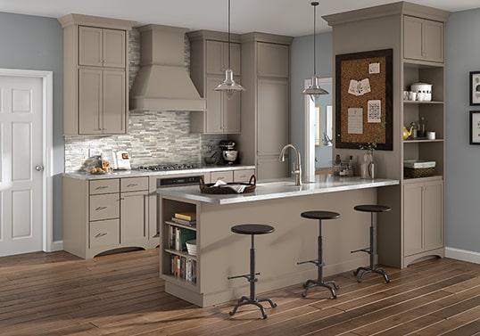 KraftMaid Galley transitional kitchen layout.