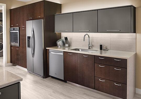 KraftMaid Single-wall contemporary kitchen layout.
