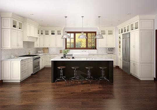 KraftMaid U-shaped transitional kitchen layout.