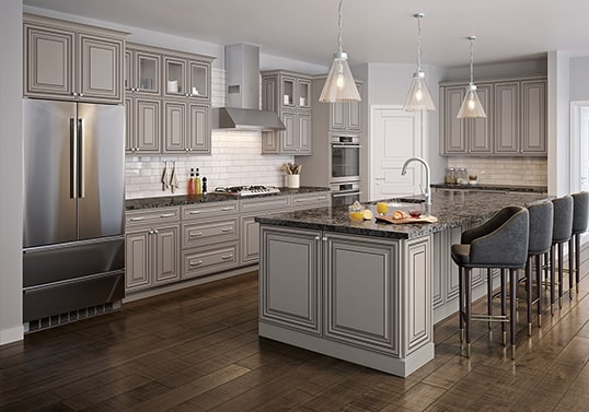 KraftMaid Traditional kitchen cabinet color in painted finish with glaze highlights