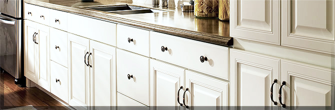 KraftMaid White Thermofoil Cabinets.