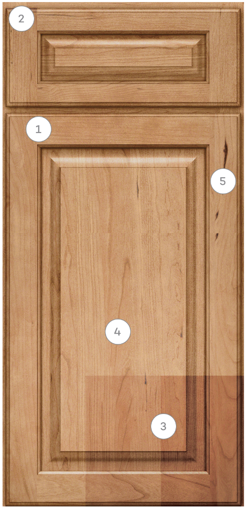 KraftMaid cabinet door and drawer with callout numbers indicating various characteristics that can appear with natural wood