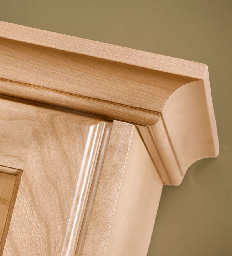 Kitchen Cabinet Crown Molding Installation: Large Cove Molding In Natural Maple