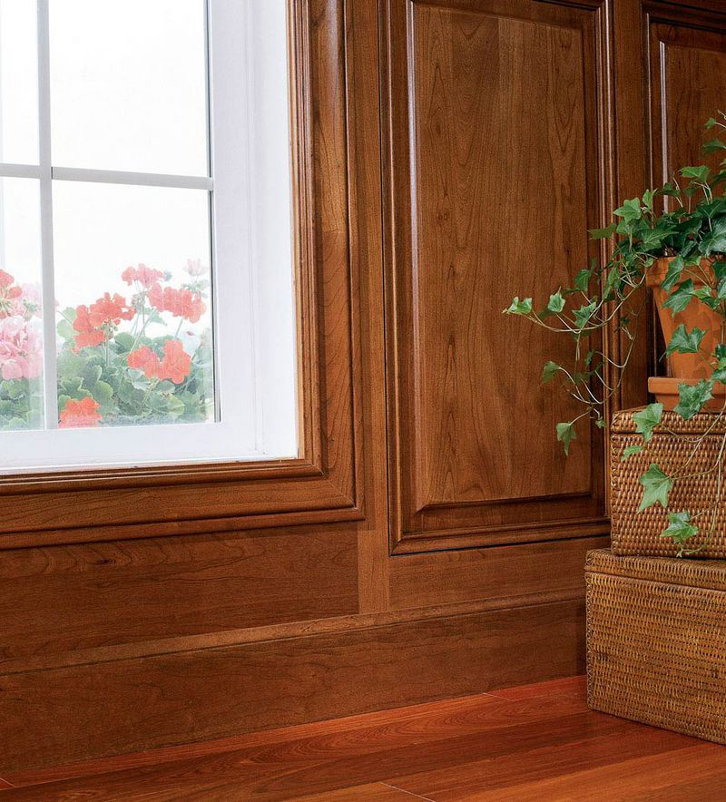Large Cove Casing as Window Trim Shown with Wainscot - KraftMaid on wainscoting at windows, wainscoting dining room with window, wainscoting wall with window, wainscoting ideas, wainscoting panels under windows,