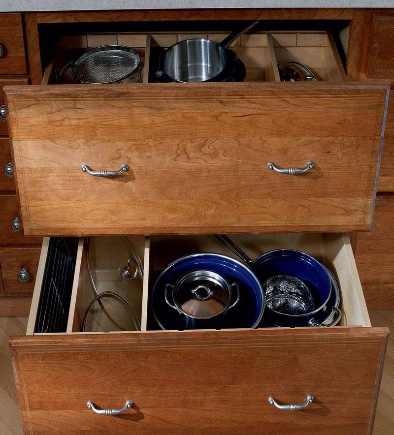 Base Pots And Pans Storage With Adjustable Drawer Dividers Kraftmaid
