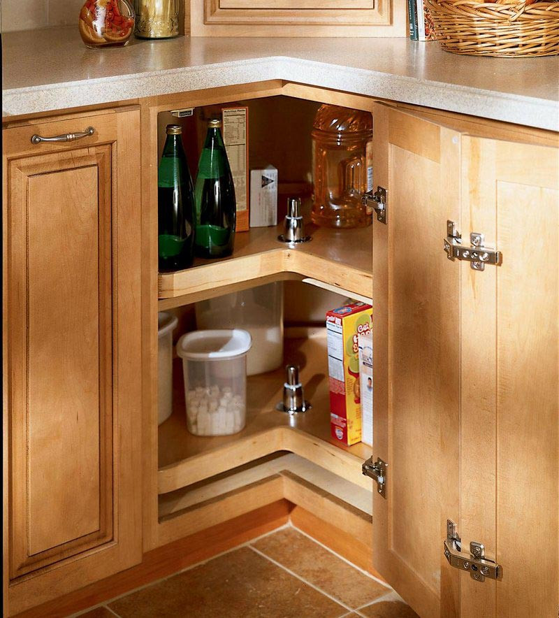 Kitchen Cabinets Or Open Shelving We Asked An Expert For: Easy Reach Wood Lazy Susan