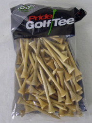"Pride Golf Tees (2.75"", Natural, 100pk) 100% Solid Hardwood NEW"