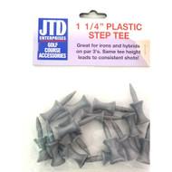 """JTD Enterprises Plastic Step Tees (1 1/4"""", Silver, 100 PACK, 1500 TEES) NEW"""