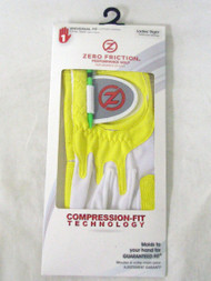 Zero Friction Performance Glove (LADIES, LEFT, YELLOW) UNIVERSAL FIT Golf NEW