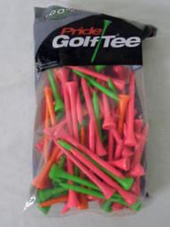 "Pride Golf Tees (3.25"", Neon Mixed, 75pk) 100% Solid Hardwood, NEW"