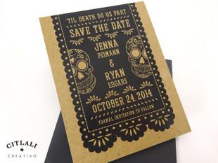 Rustic Kraft Papel Picado & Sugar Skulls Wedding Save the Dates in black