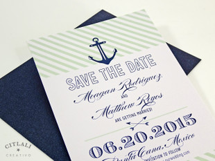 Striped Anchor Wedding Save the date - Navy & Spearmint