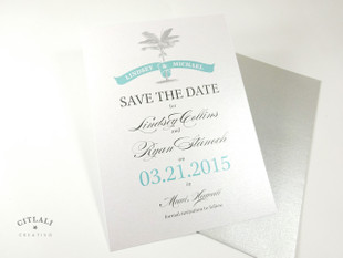 Palm Banner Wedding Save the date - Silver & Aqua