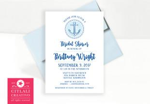 Anchor Burst Nautical Theme Bridal Shower Invitations