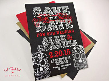 Black & Red Bold Sugar Skulls Save the Date