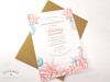 Coral Reef Beach Bridal Shower Invitation in teal, khaki & coral