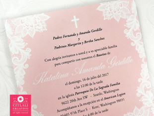 Pink Floral Lace + Cross Baptism or Christening Invitation Card