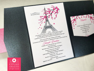 Cherry Blossom Paris Eiffel Tower Quinceañera Invitations