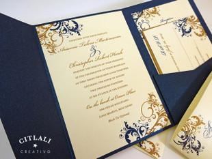 Antique Gold & Navy Elegant Filigree / Flourish Wedding Invitation
