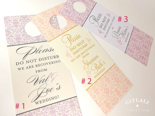 Please Do Not Disturb Fancy Damask Hotel Guest Wedding Door Hangers