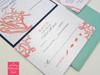 Coral Reef Island Beach Script Monogram Wedding Invitations