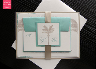 Aqua & Sand Layered Ribbon Palm Tree Beach Wedding Invitations