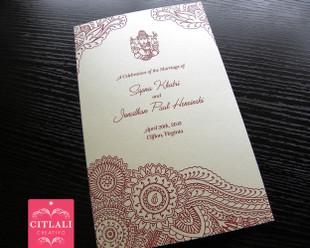 Ganesha Henna Mehndi Folded Wedding Ceremony Program