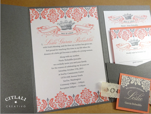 Crown & Vintage Lace Sweet 16 / Quinceañera Invitations – Pocket Folder in Gray & Coral