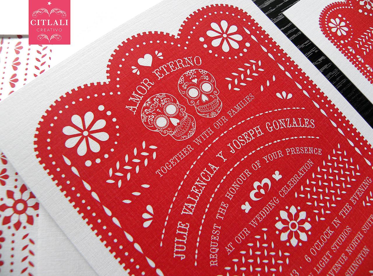 Red Papel Picado & Sugar Skulls Wedding Invitations - Citlali ...