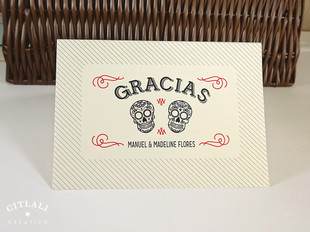 Sugar Skulls Curved Gracias Card Folded