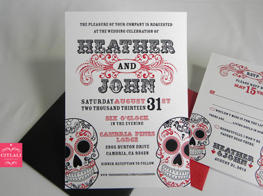 Red & Black Mexican Sugar Skulls Flourish Swirl Wedding Invitations