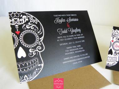 Black & Red Large Skull Wedding Invitations
