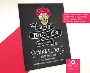 Floral Frida Chalkboard Style Wedding Save the Dates