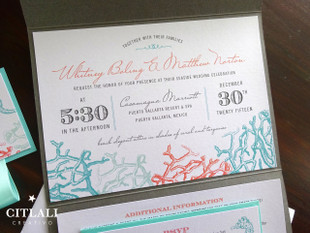 Beach Wedding Coral Reef & Seahorses Pocket Folder Invitations