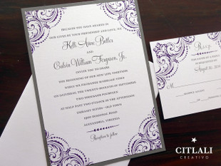 Purple & Grey Corner Flourish Wedding Invitations