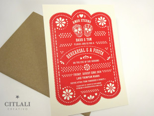 Rehearsal Fiesta Red Papel Picado & Sugar Skull Invitations