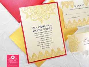 Mandala Wedding Invitation Paisley Print Suite in gold & red
