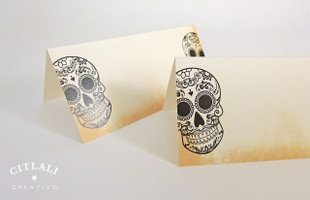 Distressed Sugur Skulls Tent Style Place Cards
