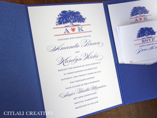 Oak Tree Blue Pocket Folder Wedding Invitation in coral & blues