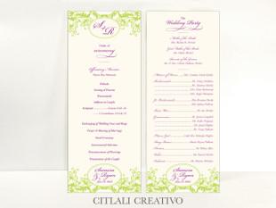 Elegant Floral Flourish Wedding Ceremony Programs