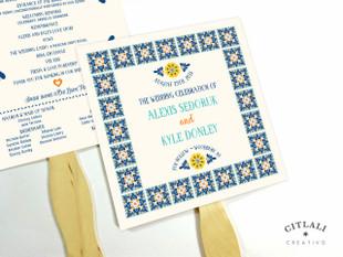 Talavera Spanish Tile Wedding Fan Programs with Wooden Stick Handle