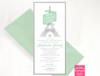 Modern Mint Eiffel Tower Quinceañera Birthday Invitations