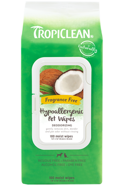 Tropiclean Hypo-Allergenic Wipes 100ct